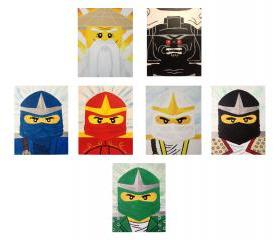 Ninjago Ninjas, Sensei Wu and Lord Garmadon 8x10' canvas panel wall art
