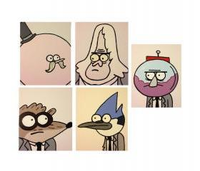 5 Regular Show Characters Self-Portrait 8x10' canvas panels wall art